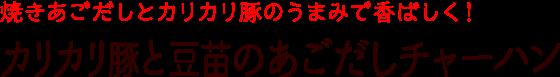 カリカリ豚と豆苗のあごだしチャーハン